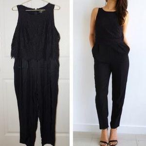 Ann Taylor Loft Lace Jumpsuit Classic Black Sz 12P